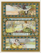 ALPHONSE MUCHA (1860-1939). LEFÈVRE - UTILE / BISCUITS. Two biscuit tin labels. Circa 1896. Each approximately 11x9 inches, 29x23 cm.