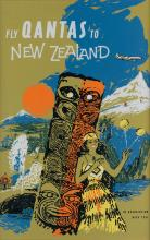 DESIGNER UNKNOWN. FLY QANTAS TO NEW ZEALAND. 28x19 inches, 73x48 cm.