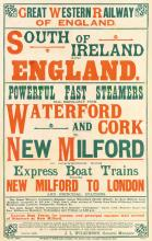 DESIGNER UNKNOWN. GREAT WESTERN RAILWAY OF ENGLAND / SOUTH OF IRELAND AND ENGLAND. 1899. 39x25 inches, 100x64 cm. Wyman & Sons Ltd., Lo