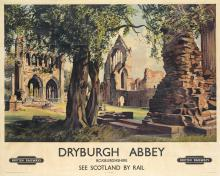 JAMES MCINTOSH PATRICK (1907-1998). DRYBURGH ABBEY / BRITISH RAILWAYS. Circa 1955. 39x49 inches, 101x126 cm. Stafford & Co. Ltd., Nethe