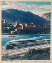 LESLIE RAGAN (1897-1972). THE NEW EMPIRE STATE EXPRESS PASSING WEST POINT. Calendar back. 19x16 inches, 49x40 cm.