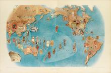 MIGUEL COVARRUBIAS (1904-1957). PAGEANT OF THE PACIFIC. Group of 6 poster maps in original printed portfolio. 1940. Sizes vary. H.S. Cr