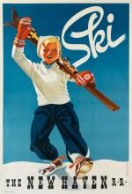 SASCHA MAURER (1897-1961). SKI / THE NEW HAVEN R • R •. Circa 1940. 42x28 inches, 106x71 cm. Plampin Litho Co., New York.
