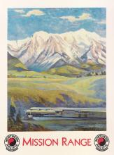 GUSTAV W. KROLLMANN (1888-1962). MISSION RANGE / NORTHERN PACIFIC. Circa 1930. 40x30 inches, 101x76 cm. Brown & Bigelow, St. Paul.