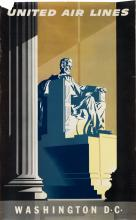 JOSEPH BINDER (1898-1972). UNITED AIR LINES / WASHINGTON D.C. 39x24 inches, 101x63 cm.