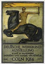 PETER BEHRENS (1868-1940). DEUTSCHE WERKBUND - AUSSTELLUNG. 1914. 35x25 inches, 90x63 cm. A. Molling & Comp., Hannover-Berlin.