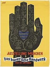 FRANZ PAUL GLASS (1886-1964). AUSSTELLUNG MUNCHEN / DAS BAYERISCHE HANDWERK. 1927. 48x36 inches, 122x97 cm. Gebr. Obpacher A.G., Munich