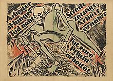 HEINZ FUCHS (1886-1961). ARBEITER HUNGER TOD NAHT. 1919. 29x40 inches, 74x103 cm.