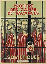 DESIGNER UNKNOWN. PROFITEZ DES CAMPS DE VACANCES . . . . . / SOVIETIQUES. Circa 1952. 31x23 inches, 80x59 cm. Paix et Liberte, Paris.