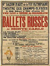 D'APRES PABLO PICASSO (1881-1973). BALLETS RUSSES DE MONTE - CARLO. 1924. 62x47 inches, 158x119 cm. Albert Picard, [Saint Martin.]