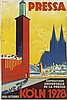 H. NOCKUR (DATES UNKNOWN). PRESSA / KOLN. 1928. 28x19 inches, 72x49 cm. Cologne.
