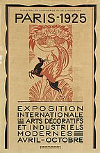 ROBERT BONFILS (1886-1972). PARIS - 1925 / EXPOSITION INTERNATIONALE DES ARTS DECORATIFS ET INDUSTRIELS MODERNES. Poster and proof befo