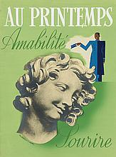 RENE LETOURNEUR (1898-1990). AU PRINTEMPS / AMABILITE / SOURIRE. Gouache and photocollage maquette. Circa 1930s. 15x11 inches, 39x29 cm