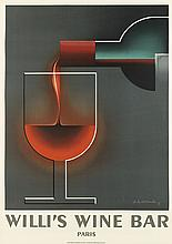 ADOLPHE MOURON CASSANDRE (1901-1968). WILLI'S WINE BAR. 1984. 39x27 inches, 99x70 cm. Henri Mouron, Paris..