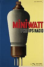 ADOLPHE MOURON CASSANDRE (1901-1968). MINIWATT / PHILIPS RADIO. 1931. 22x15 inches, 57x38 cm. Alliance Graphique, Paris.