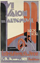A. POMBO (DATES UNKNOWN) & J.L. DALES (DATES UNKNOWN). VI SALON DEL AUTOMOVIL. 1928. 45x29 inches, 116x75 cm. [Monetevideo, Uruguay.]