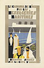JEAN-JACQUES GAUDINOT (DATES UNKNOWN). LE CARNAVAL DE NICE PAR LES MESSAGERIES MARITIMES. 1935. 27x17 inches, 69x45 cm. Reunies, Paris.