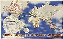 LASZLO MOHOLY-NAGY (1895-1946). IMPERIAL AIRWAYS / MAP OF EMPIRE & EUROPEAN AIR ROUTES. 1936. 25x39 inches, 63x100 cm. Curwen Press, Lo