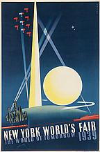 JOSEPH BINDER (1898-1972). NEW YORK WORLD'S FAIR / THE WORLD OF TOMORROW. 1939. 30x19 inches, 76x50 cm. Grinnell Litho. Co., Inc., New