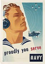 JOSEPH BINDER (1898-1972). PROUDLY YOU SERVE / NAVY. 1950. 40x28 inches, 101x71 cm.