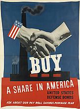 JOHN ATHERTON (1900-1952). BUY A SHARE IN AMERICA. 1941. 55x42 inches, 141x106 cm. U.S. Government Printing Office, [Washington D.C.]