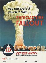DESIGNER UNKNOWN. RADIOACTIVE FALLOUT. 1955. 24x17 inches, 61x44 cm. U.S. Government Printing Office, [Washington, D.C.]