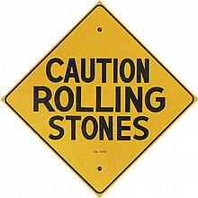 DESIGNER UNKNOWN. CAUTION ROLLING STONES. 1969. 22x22 inches, 56x56 cm.