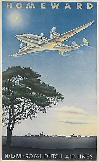 PAULUS CASPER ERKELEN (1912-?). K.L.M. / HOMEWARD. 1944. 39x23 inches, 100x59 cm.