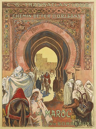 D'APRÈS ALMERY LOBEL - RICHE (1880-1950). LE MAROC VIA BORDEAUX. Circa 1930. 40x29 inches, 101x74 cm. Champenois, Paris.