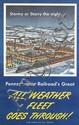 DESIGNER UNKNOWN. PENNSYLVANIA RAILROAD'S GREAT / ALL WEATHER FLEET GOES THROUGH! Circa 1942. 40x25 inches, 102x63 cm.