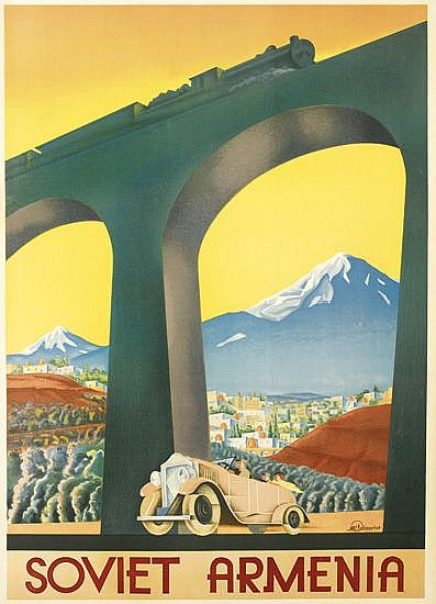 DESIGNER UNKNOWN. SOVIET ARMENIA. Circa 1935. 35x24 inches, 89x63 cm.