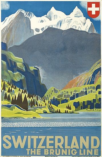 OTTO BAUMBERGER (1889-1961). SWITZERLAND / THE BRUNIG LINE. 1937. 39x24 inches, 99x63 cm. Sauberlin & Pfeiffer, Vevey.