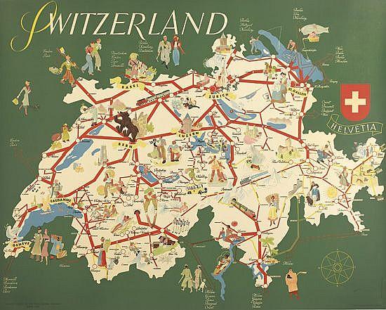 HANS THONI (1906-1980). SWITZERLAND. 1937. 39x49 inches, 101x125 cm. Wolfsberg, Zurich.