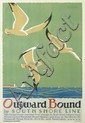 RAYMOND HUELSTER (1890-1955). OUTWARD BOUND / BY SOUTH SHORE LINE. 1929. 42x27 inches, 106x70 cm. Illinois Litho. Co., Chicago.