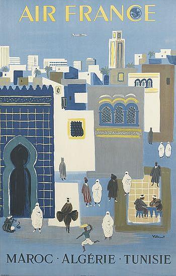 BERNARD VILLEMOT (1911-1989). AIR FRANCE / MAROC - ALGÉRIE - TUNISIE. 1952. 38x24 inches, 98x61 cm. Hubert Baille, Paris.