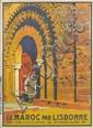 EDOUARD - MARCEL SANDOZ (1881-1971). LE MAROC PAR LISBONNE / CIE. GLE. TRANSATLANTIQUE. Circa 1920. 40x28 inches, 101x72 cm. Affiches E