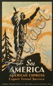 EYK (DATES UNKNOWN). SEE AMERICA / BY AMERICAN EXPRESS. Circa 1935. 38x23 inches, 98x59 cm. Hill, Sutken, London.