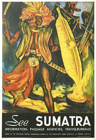 DESIGNER UNKNOWN. SEE SUMATRA. Circa 1935. 39x25 inches, 99x65 cm. De Unie-Rotogravure.