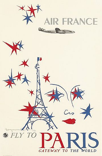 RAYMOND GID (1905-2000). AIR FRANCE / FLY TO PARIS. 1953. 39x24 inches, 99x63 cm. Bedos, Paris.