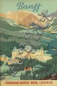 NORMAN FRASER (DATES UNKNOWN). BANFF / A CANADIAN PACIFIC HOTEL IN THE CANADIAN ROCKIES. Circa 1938. 36x23 inches, 91x59 cm.