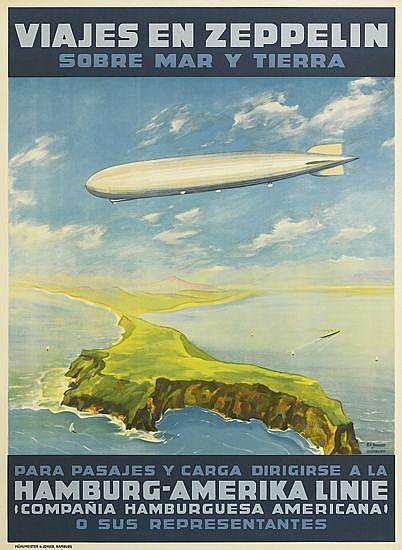 PAUL THEODORE ETBAUER (1892-1975). VIAJES EN ZEPPELIN / SOBRE MAR Y TIERRA. Circa 1930. 33x24 inches, 83x61 cm. Muhlmeister & Johler, H
