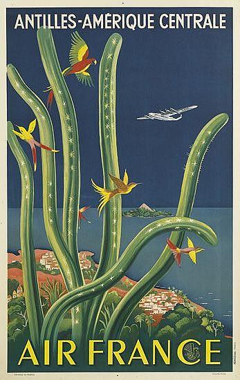 LUCIEN BOUCHER (1889-1971). AIR FRANCE / ANTILLES - AMÉRIQUE CENTRALE. 1948. 39x24 inches, 99x62 cm. Perceval, Paris.
