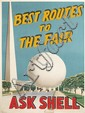 DESIGNER UNKNOWN. BEST ROUTES TO THE FAIR / ASK SHELL. 1939. 54x39 inches, 137x99 cm.