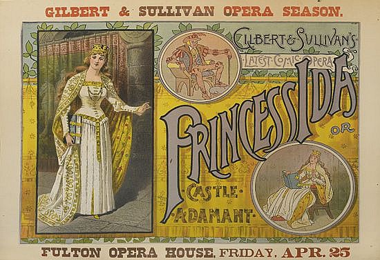 DESIGNER UNKNOWN. GILBERT & SULLIVAN'S / PRINCESS IDA / OR CASTLE ADAMANT. Circa 1885. 26x34 inches, 66x86 cm. The Strobridge Lith. Co