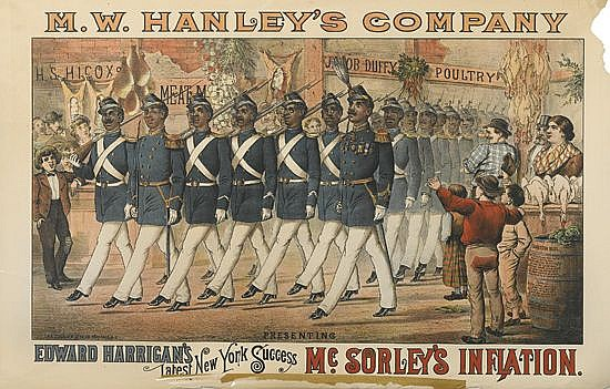 DESIGNER UNKNOWN. M.W. HANLEY'S COMPANY / MCSORLEY'S INFLATION. Circa 1882. 28x42 inches, 71x106 cm. The Courier Lith. Co., Buffalo.
