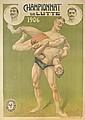 DESIGNER UNKNOWN. CHAMPIONNAT DE LUTTE. 1906. 63x45 inches, 160x114 cm. Cercle des Arts Industriels.