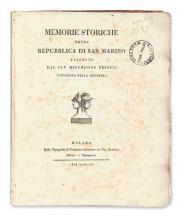 DELFICO, MELCHIORRE. Memorie Storiche della Repubblica di San Marino.  1804