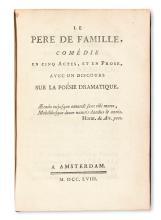 DIDEROT, DENIS.  Le Père de Famille. 1758 + GOLDONI, CARLO. Le Père de Famille. 1758 + GOLDONI, CARLO. Le Véritable Ami. 1758