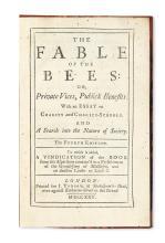 ECONOMICS  MANDEVILLE, BERNARD DE.  The Fable of the Bees.  1725 + The Fable of the Bees.  Part II.  1729