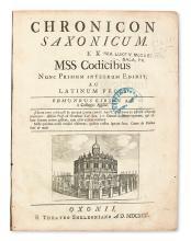 GIBSON, EDMUND, translator and editor. Chronicon saxonicum. 1692